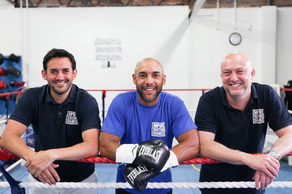 Alex Beresford at Empire Fighting Chance boxing gym, with Empire FIghting Chance CEO Martin Bisp and COO Jamie Sanigar, as part of photoshoot for his Empire Fighting Chance ambassadorship announcement.
