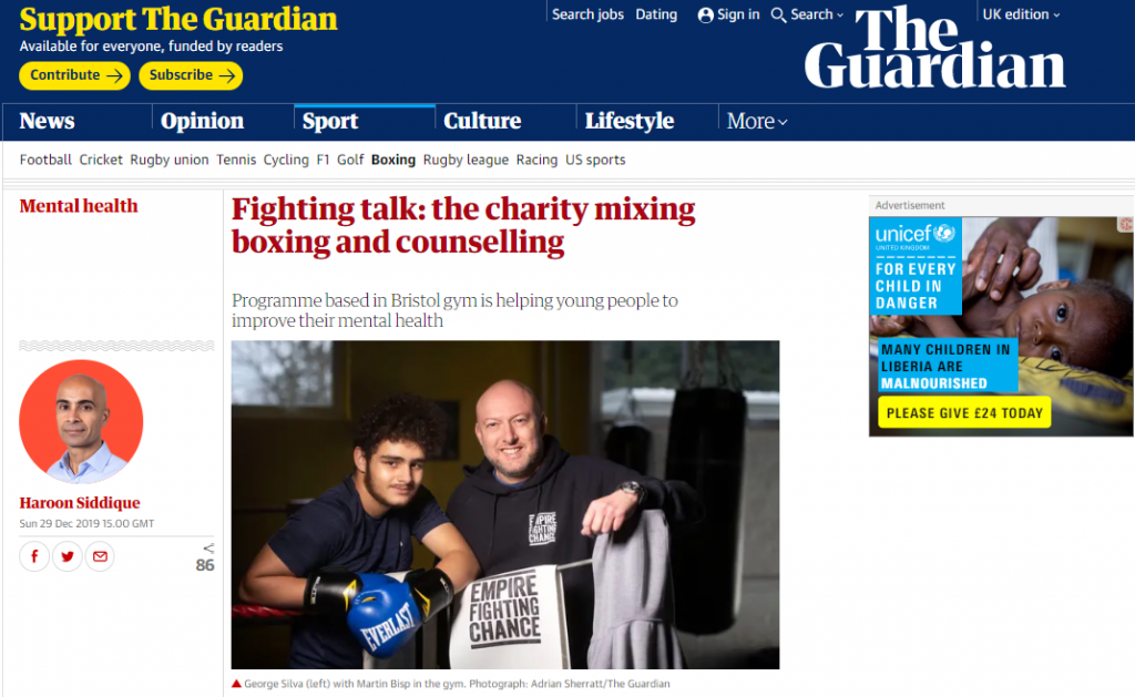 Screenshot of the Guardian online feature which shows Empire Fighting Chance CEO Martin Bisp alongside young person George Silva